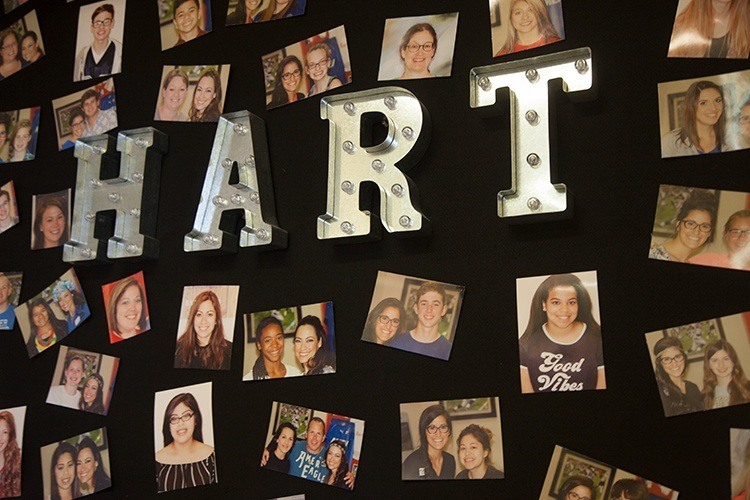 Hart board with patient photos