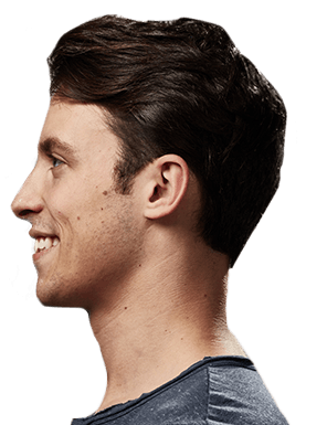 Side view of smiling young man